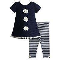 Baby Girl Youngland Flower Textured Tunic & Striped Leggings Set