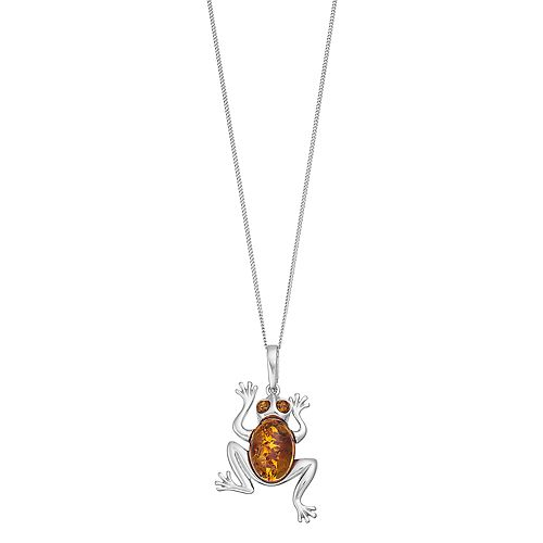 Sterling Silver Amber Frog Pendant Necklace