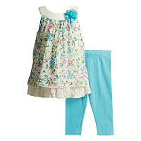Baby Girl Youngland Floral-Print Crocheted Tunic & Leggings Set