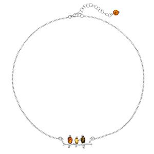 Sterling Silver Amber Bird Bar Necklace