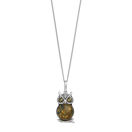 Sterling Silver Amber Owl Pendant Necklace