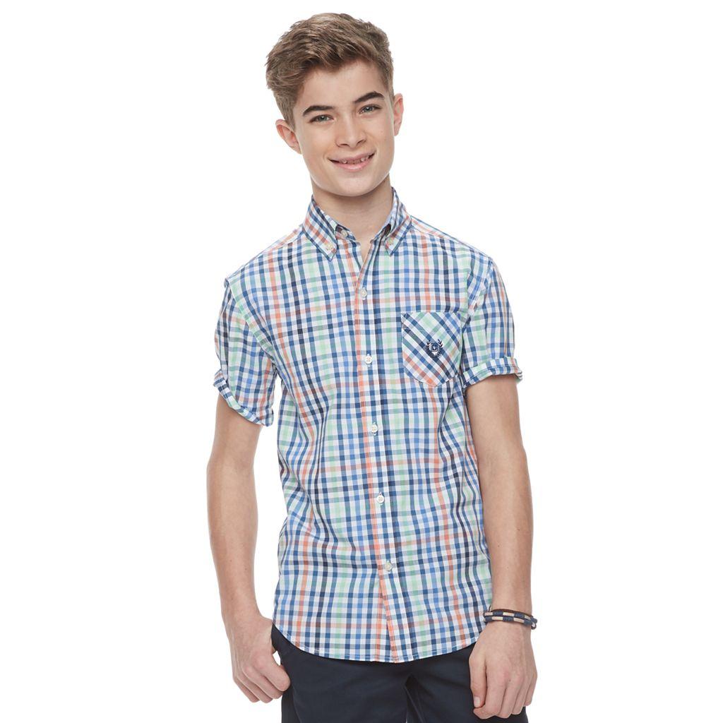 Boys 4-20 Chaps Stretch Plaid Button-Down Shirt