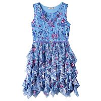 Girls 7-16 Knitworks Floral Chiffon Corkscrew Skirt Dress with Belt & Necklace