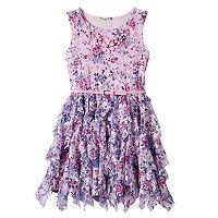 Girls 7-16 Knitworks Floral Chiffon Corkscrew Skirt Dress with Belt & Necklace
