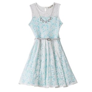 Girls 7-16 Knitworks Floral Overlay Belted Skater Dress