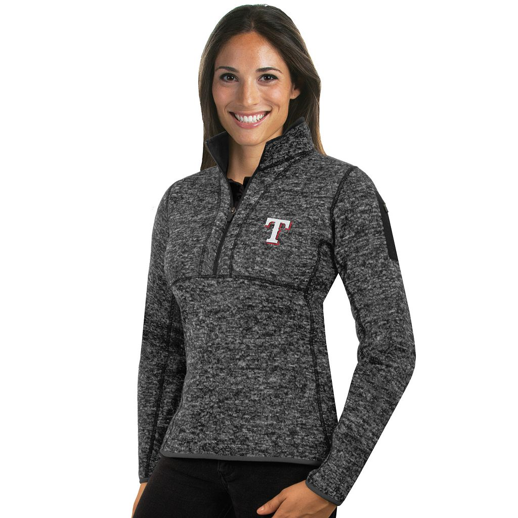 Women's Antigua Texas Rangers Fortune Midweight Pullover Sweater