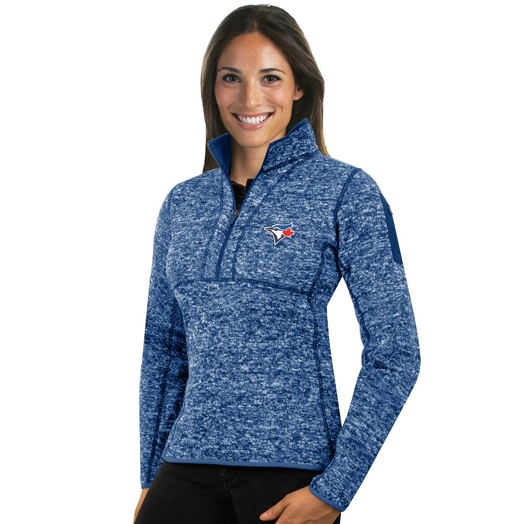 Women's Antigua Toronto Blue Jays Fortune Midweight Pullover Sweater