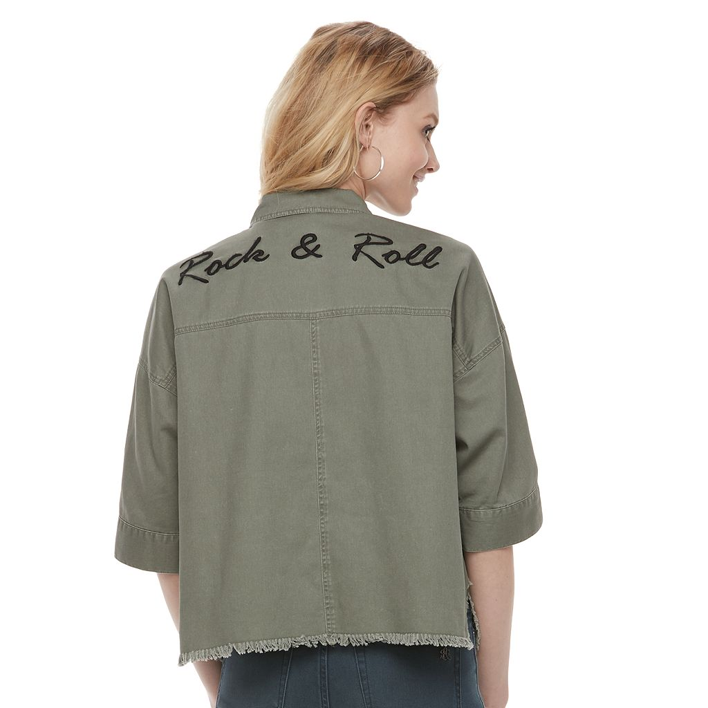 Women's Rock & Republic® Embroidered Frayed Shirt