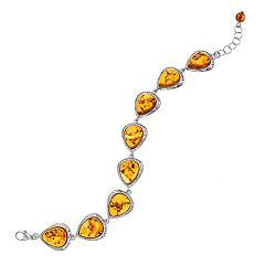 Sterling Silver Amber Teardrop Bracelet