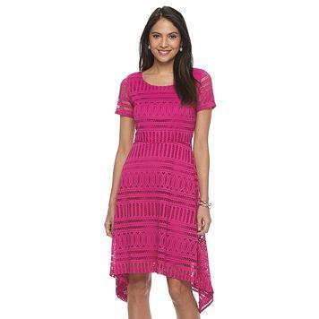 Petite Dana Buchman Lace Sharkbite Dress