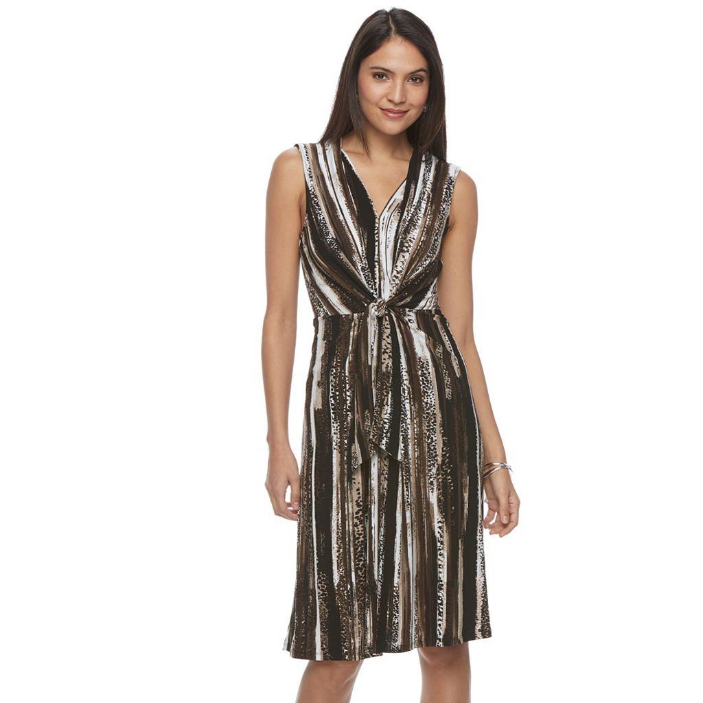 Petite Dana Buchman Tie-Front Crepe Dress