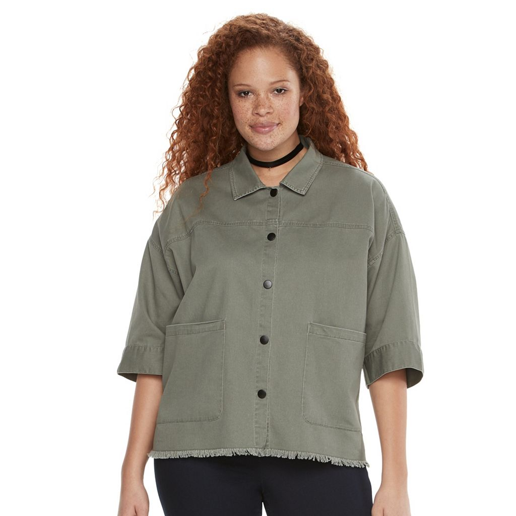 Plus Size Rock & Republic® Embroidered Frayed Shirt