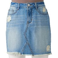 Juniors' Mudd® Ripped Jean Skirt