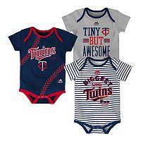 Baby Majestic Minnesota Twins 3-Pack Bodysuits