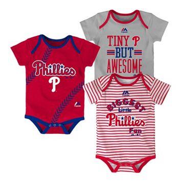 Baby Majestic Philadelphia Phillies 3-Pack Bodysuits