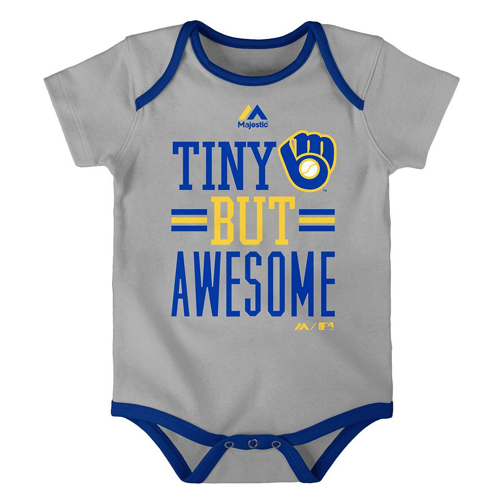 Baby Majestic Milwaukee Brewers 3-Pack Bodysuits