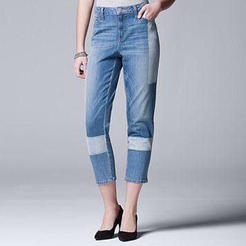 Women's Simply Vera Vera Wang Shadow Patch Straight-Leg Jeans