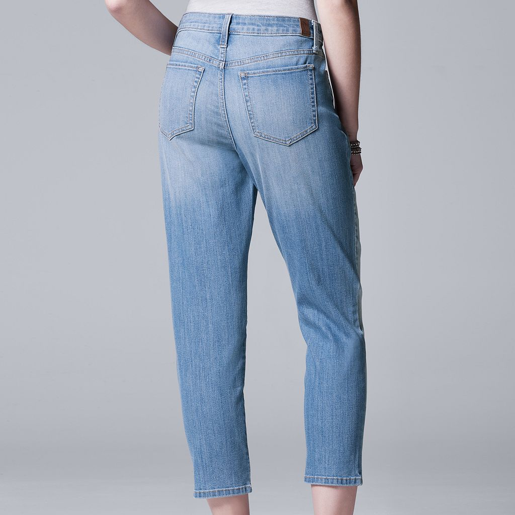Women's Simply Vera Vera Wang Shadow Patch Straight-Leg Jeans
