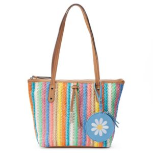Rosetti Anne Marie Straw Tote with Flower Coin Purse