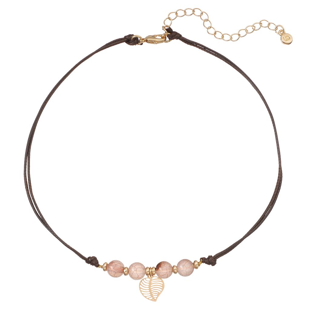 LC Lauren Conrad Pink Beaded Leaf Cord Choker Necklace