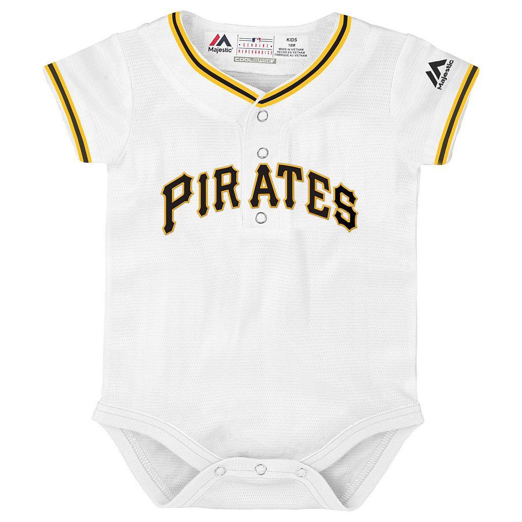 Baby Majestic Pittsburgh Pirates Cool Base Replica Jersey Bodysuit