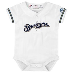 Baby Majestic Milwaukee Brewers Cool Base Replica Jersey Bodysuit