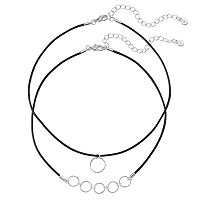 LC Lauren Conrad Textured Circle Cord Choker Necklace Set
