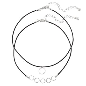 LC Lauren Conrad Textured Circle Cord Choker Necklace Set