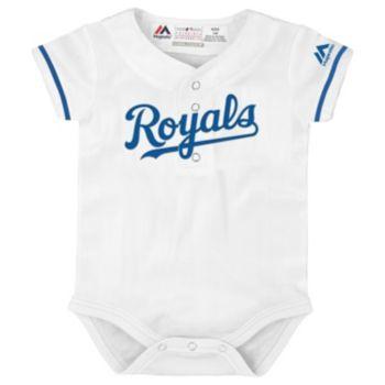 Baby Majestic Kansas City Royals Cool Base Replica Jersey Bodysuit