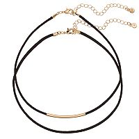 LC Lauren Conrad Curved Bar Faux Suede Choker Necklace Set