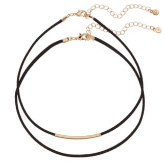 LC Lauren Conrad Curved Bar Faux Suede Choker Necklace Set