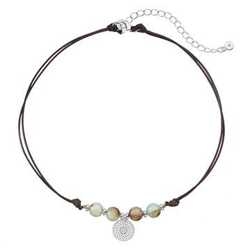 LC Lauren Conrad Beaded Flower Charm Choker Necklace