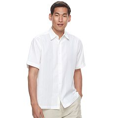 Men's Havanera Texture-Striped Embroidered Button-Down Shirt