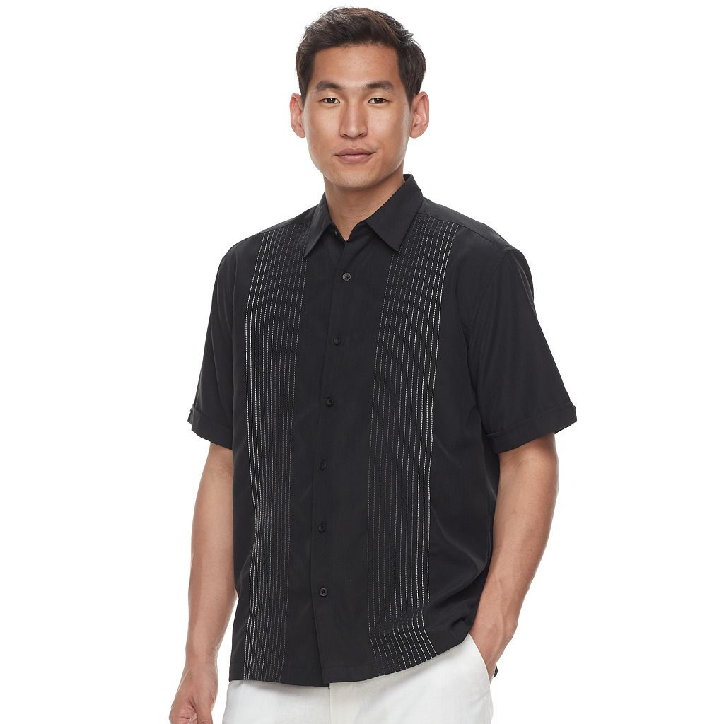 Men's Havanera Texture-Striped Embroidered Button-Down Shirt