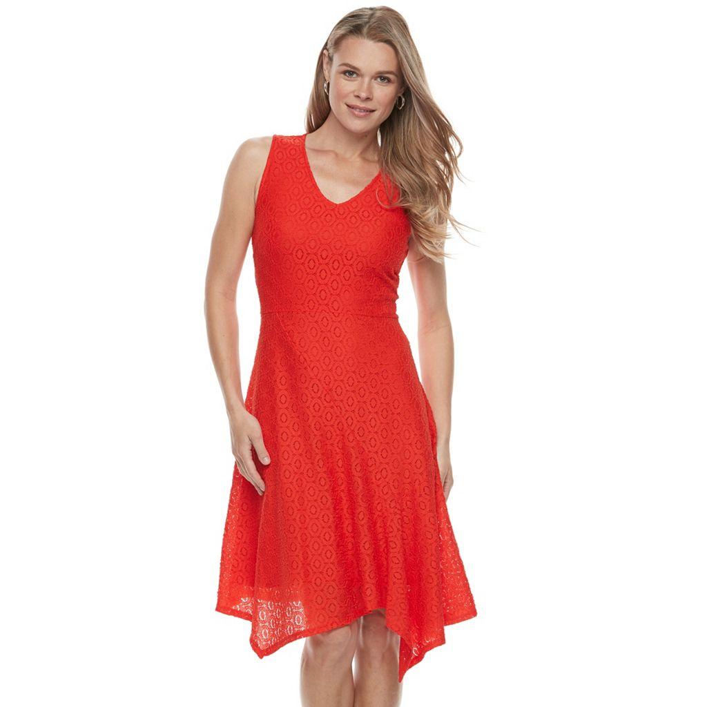 Petite Dana Buchman Asymmetrical Lace Fit & Flare Dress