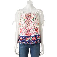 Juniors' Trixxi Print Off Shoulder Top