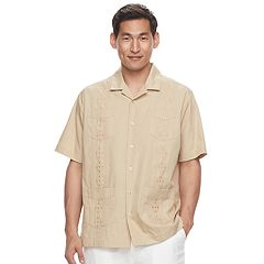 Men's Havanera Guayabera Embroidered Four-Pocket Button-Down Shirt