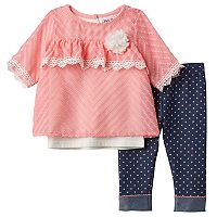 Baby Girl Little Lass Textured Chiffon Top, Solid Tank Top & Polka-Dot Jeggings Set