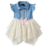 Baby Girl Little Lass Chambray & Lace Handkerchief Hem Dress