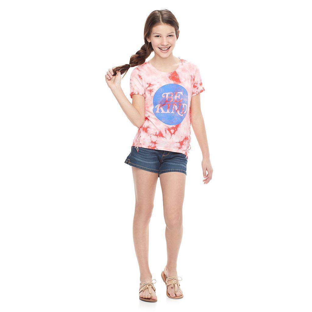 Girls 7-16 & Plus Size Mudd® Tie-Dye Ombre Fringe Tee