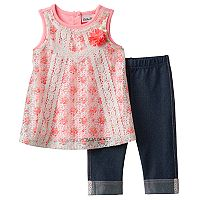 Baby Girl Little Lass Lace Tank Top & Capri Jeggings Set