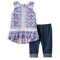 Baby Girl Little Lass Floral Gauze Tunic & Capri Jeggings Set