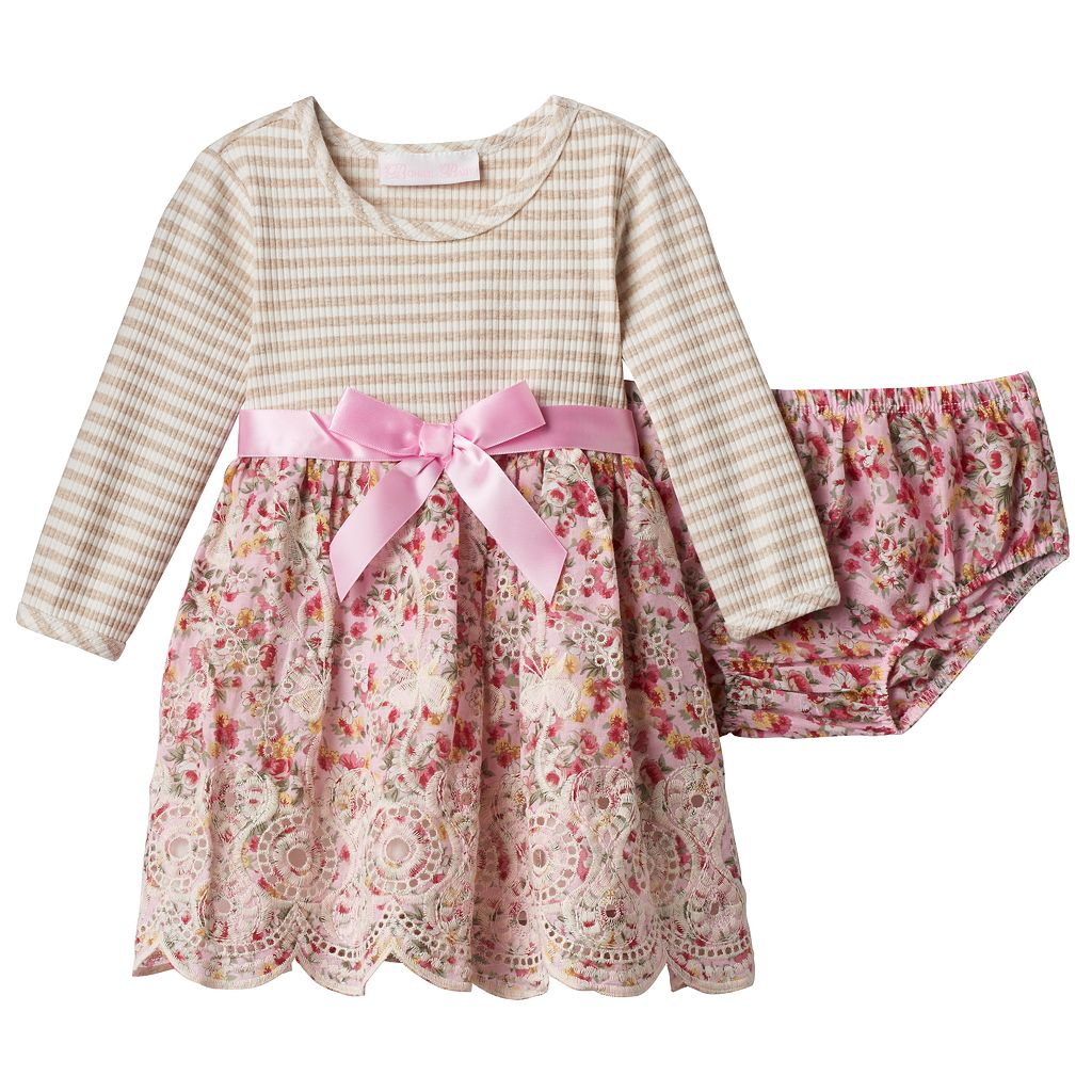 Baby Girl Bonnie Jean Striped Floral Embroidered Skirt