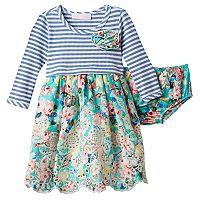 Baby Girl Bonnie Jean Striped Floral Dress