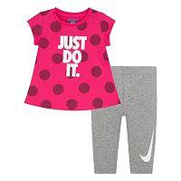 Toddler Girl Nike Polka-Dot Graphic Tunic & Leggings Set