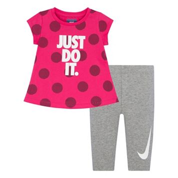 Toddler Girl Nike Polka-Dot Graphic Tunic & Leggings Set