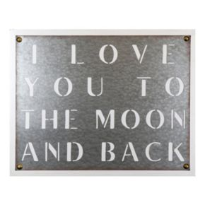 """Belle Maison """"Love You To The Moon"""" Galvanized Cut-Out Wall Art"""