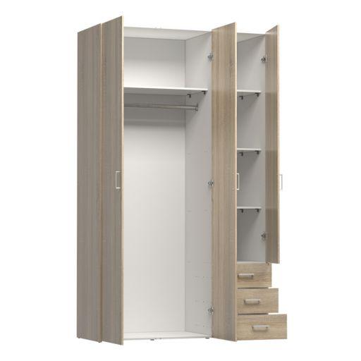 Space 3-Door Wardrobe Closet