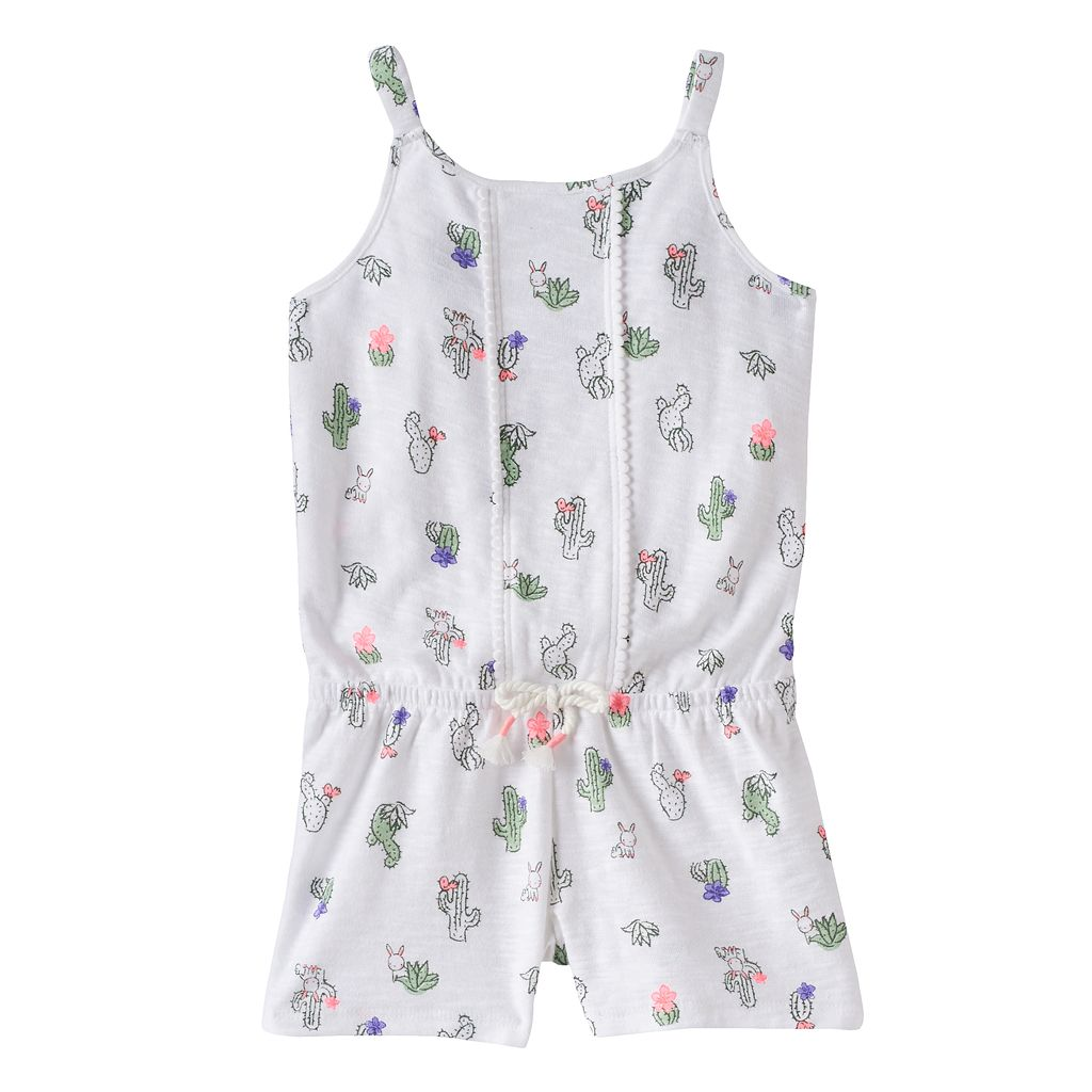 Toddler Girl Jumping Beans® Print Pom-Trim Romper