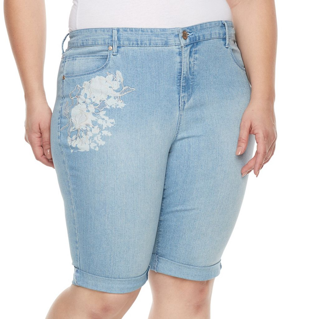 Plus Size Gloria Vanderbilt Jordyn Embroidered Jean Bermuda Shorts